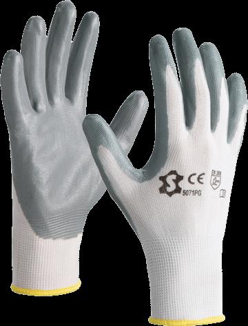 Luva de nylon c/ palma e dedos revestidos com nitrilo 5071PG