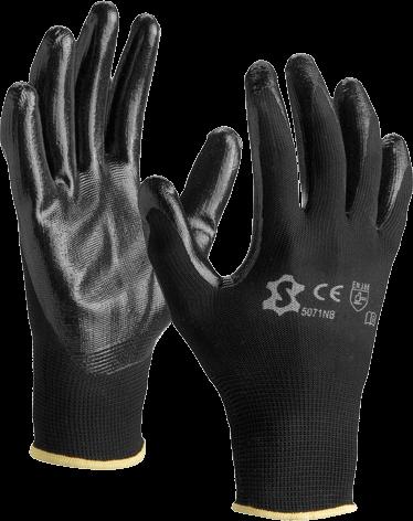 Luva de nylon palma e dedos revestidos a nitrilo 5071NB